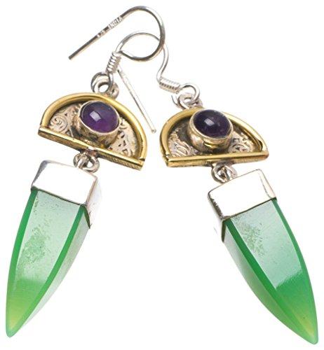 StarGems(tm) Natural Two Tones Chrysoprase and Amethyst Handmade Boho 925 Sterling Silver Earrings 2