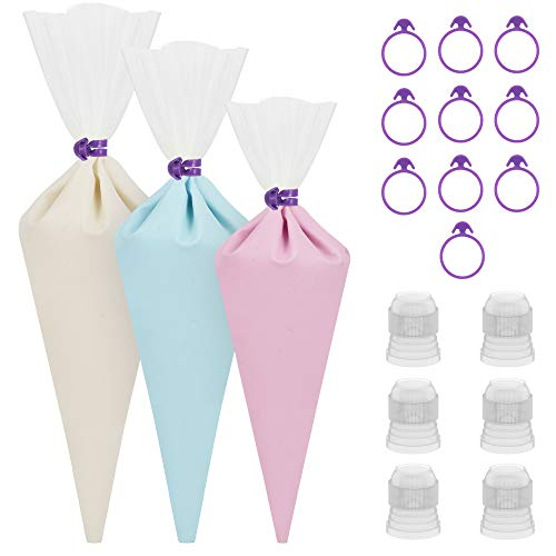(Kootek 28 Pieces Cake Decorating Tools with 12 Pack 3 Sizes (12''+14''+16'') Reusable Silicone Icing Pastry Bags, 6 Standard Couplers and 10 Piping Bag Ties Baking Supplies for Cupcake Cookies (Clear))