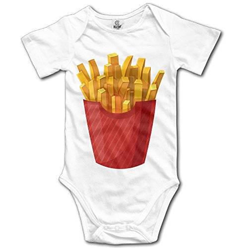 Kamici Baby French Fries Short Sleeve Romper Suit Climb Clothes White 24 (Baby French Fries Costume)