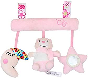Baby bed hanging toy baby cute pink bear haha mirror comfort plush doll