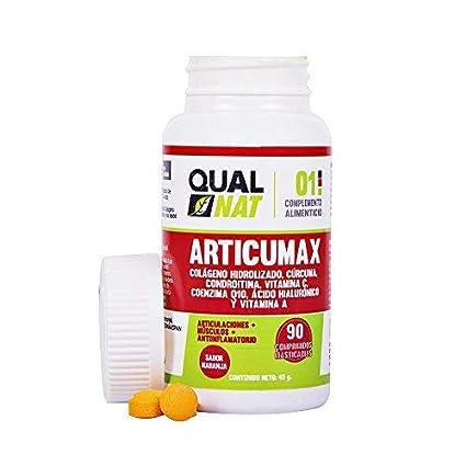 Qualnat Colágeno masticable con extracto de cúrcuma – Comprimidos con vitamina C, condroitina y ácido
