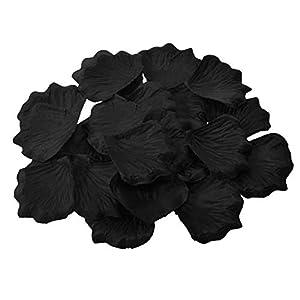 HLLbuy 2000 Pieces Black Artificial Flower Petals Silk Rose Petals for Wedding Party and Home Decor 2