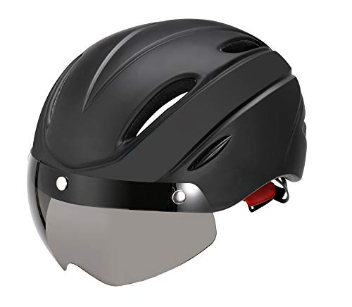 Stylish Adult Road Bike Helmet with Visor Protector Goggle Lens Adjustable Bicycle Helmets for Men & Women Black