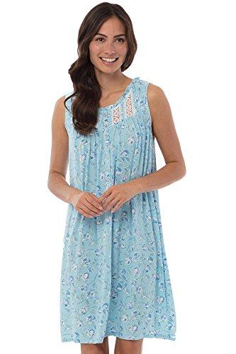 Eileen West Women's Modal Jersey Nightgown (Blue Floral, X-Large) -