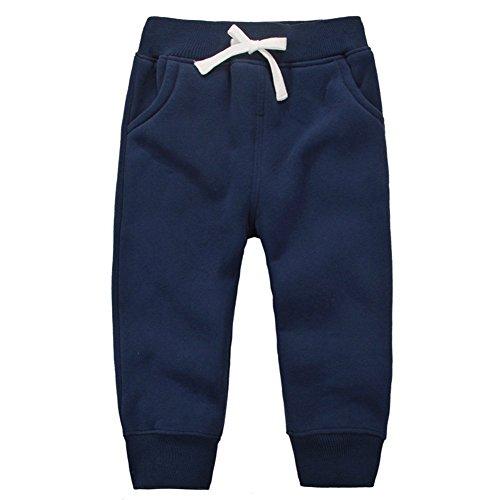 Jojobaby Unisex Kids 1-5Years Cotton Elastic Waist Winter Baby Pants Various Colors (3 Years, Dark Blue)