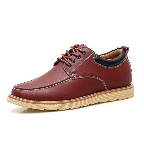 ZXCV Zapatos al aire libre Stealth dentro del aumento de los zapatos de los hombres de gamuza cuero cinturón de negocios zapatos casuales Marrón