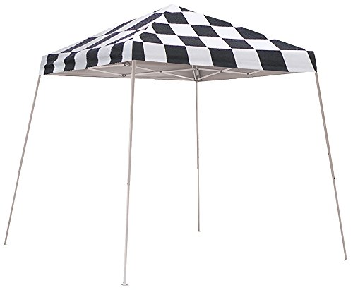 Flag Canopy - ShelterLogic Slant Leg Pop-Up Canopy with Carry Bag, Checkered Flag, 8 x 8 ft.