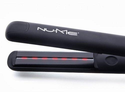 NuMe Megastar Flat Iron 100% Tourmaline Ceramic Plates with infrared flighty (110v to 240v electricity, Black)