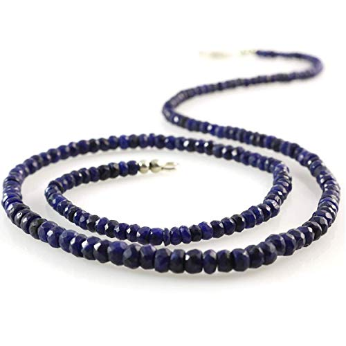 (Women's Natural Navy Blue Sapphire Gemstone Beads Necklace with Silver Clasp 19.5 inches (49.5cm))