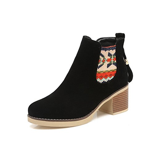Microsuede SXC02608 nbsp;Lining Heels Velvet Womens Platform Boots nbsp; Black Chunky AdeeSu Xnzq0w