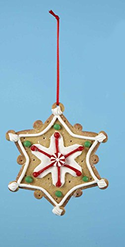 """Kurt Adler 4"""" Gingerbread Kisses Star Shaped Decorated Cookie Christmas Ornament"""