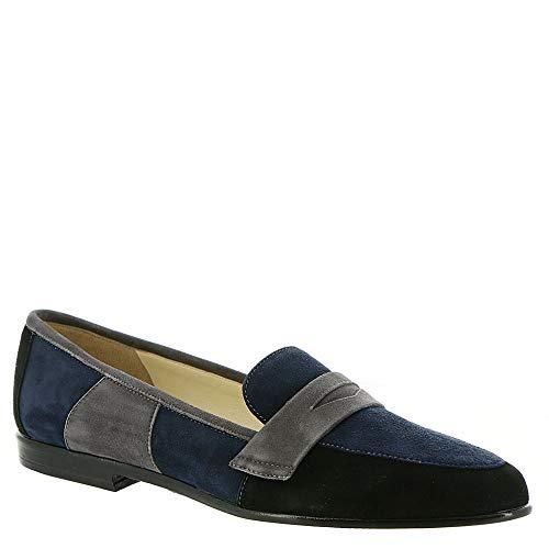 Amalfi by Rangoni Womens Oriana Leather Almond Toe Loafers, Navy, Size 9.0