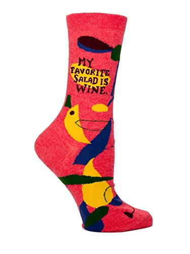 Blue Q Socks, Women's Crew, My Favorite Salad Is Wine,8, Fits Women's shoe size 5-10.,red, yellow, blue from Blue Q