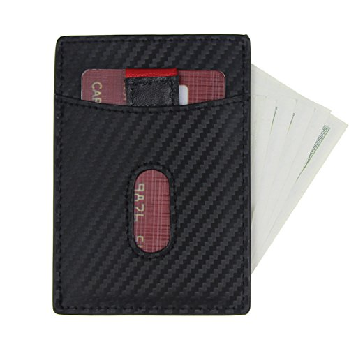 Men Magnetic Carbon Fiber Money Clip RFID Blocking Card Holder Pocket Wallets Black Magnet Type