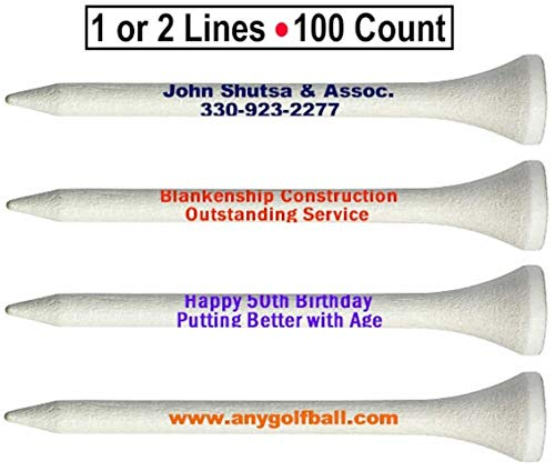 Golf Tees Personalized 2 Line Imprint 2 3/4