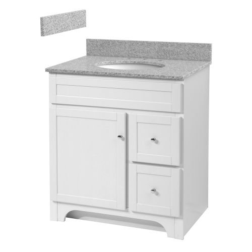 Foremost WRWAT3021D-8M  Worthington 30-Inch White Bathroom Vanity with Meteorite Gray Granite Top and White Vitreous China Sink (Vanity Top White China)