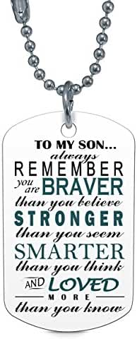 Son Dog Tag Necklace - To My Son Always Remember You Are Braver Than You Believe Dog Tag Necklace - Son Gifts From Dad Mom Parents - By Mike Apparel