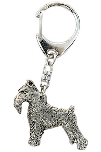 Miniature Schnauzer (Cropped Ears) Made in U.K Artistic Style Dog Key Ring Collection ()