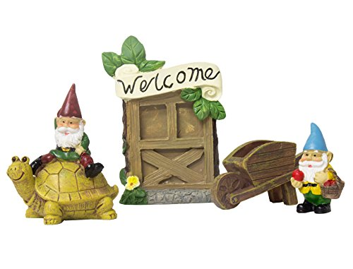 Juvale Fairy Garden Kit - 4 Piece Gnomes Miniature Figurines Accessories, Garden Ornaments Outdoor, Lawn Home Decoration