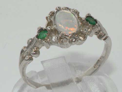 LetsBuyGold 925 Sterling Silver Real Genuine Opal and Emerald Womens Promise Ring - Size 9