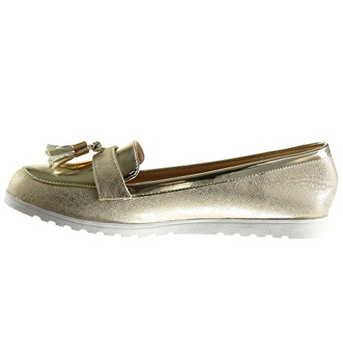 Angkorly - Chaussure Mode Mocassin slip-on femme frange pom-pom verni Talon plat 1.5 CM - Or