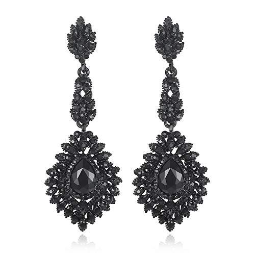 Vintage Black Crystal Drop Earrings for Women Elegant Chandelier Dangle Hanging Earrings Fashion Party Jewelry 2019 EH291,192 ()