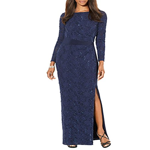 Lauren Ralph Lauren Womens Sequined Side Slit Evening Dress Blue 4
