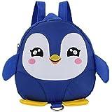 Kids Backpack, Cute Toddler Backpack for Boys Girls, Cartoon Penguin Mini Toddler School Bag (Blue)