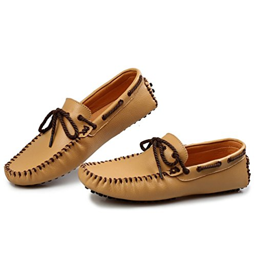 Sunrolan Beckham Mens Casual Driving Mocassini In Pelle Slip-on Mocassini Scarpe Marrone Chiaro