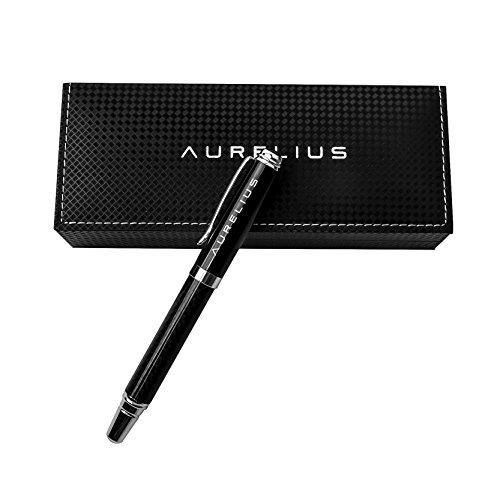 Aurelius Carbon Fiber Roller Ballpoint Pen in Gift Box,Smooth Black Ink Writing for School Students,Businessmen