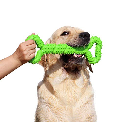 (LECHONG Durable Dog Chew Toys 13 Inch Bone Shape Extra Large Dog Toys with Convex Design Strong Tug Toy for Aggressive Chewers Medium and Large Dogs Tooth Cleaning)