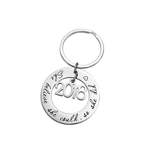 Graduation Key - Fullrainbow She Believed She Could So She Did Key Ring Inspirational Gift for Girl Women Stainless Steel 2018 (she Believe Keyring)