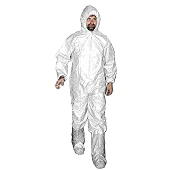 Enviroguard MicroGuard CE Coverall with Hood and Boots, Disposable, Tunnelized Wrists and Ankles, White, 2X-Large (Case of 25)