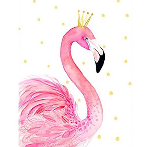 Faraway Lovely Flamingo Bird Diy Full Diamond Painting Embroidery Round Resin Rhinestone Painting for Wall Decor 12X16inch