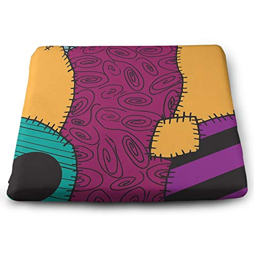 Pamdart Nightmare Before Christmas Sally Pattern Personalized Square Seat Cushion Memory Cotton Zipper Detachable for Dining Table Patio Chair ()