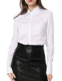 Allegra K Women's Single Breasted Long Sleeves Slim Fit Ruched Front Shirt