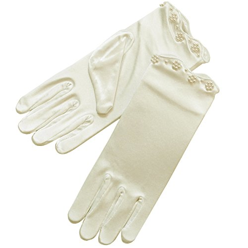 ZaZa Bridal Stretch Satin Gloves For Girl w/ Scalloped trim & Pearl Accents-Girl's Size Medium (Ivory Satin Trim)