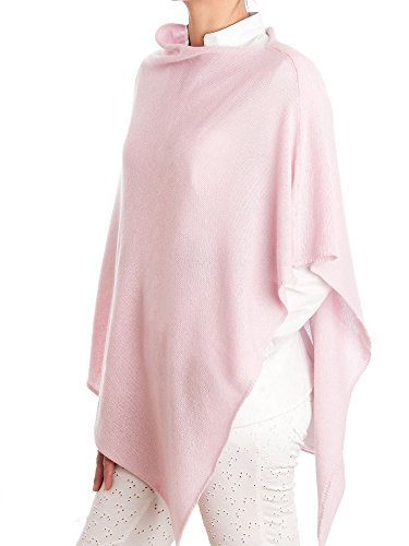DALLE PIANE CASHMERE – Poncho 100% Cashmere – Made in Italy, Color: Pink, One Size