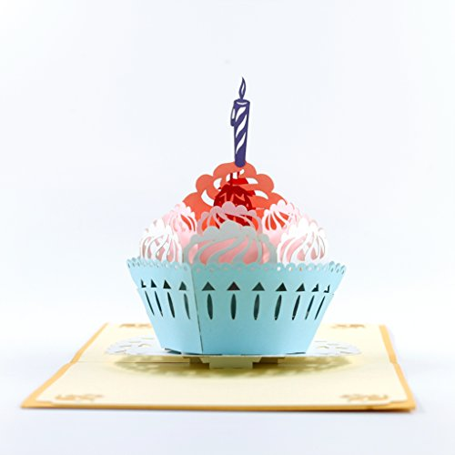 CUTEPOPUP BIRTHDAY CUPCAKE Pop up Birthday card for All Occasions - 1st Birthday, Anniversary, Family, Friendship or Cupcake Lovers. ()