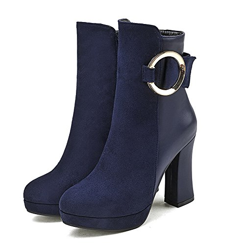 High Round Women's Zipper Blue Toe Low AmoonyFashion Boots Top Heels Closed fx6SIwqwW