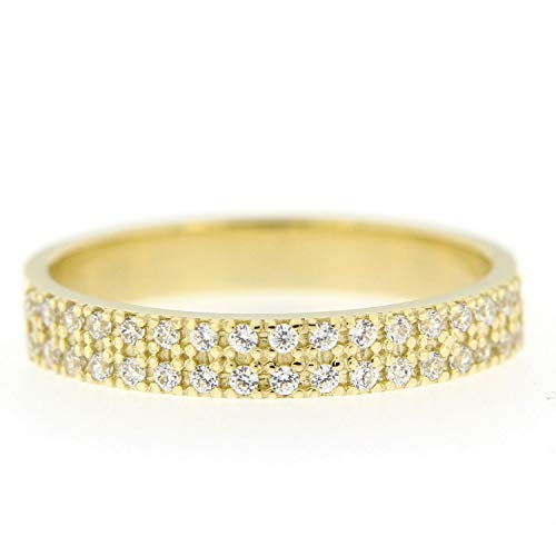 - Amoilys Newest Diamond Ring Natural Round Real Pave Diamond 14K Solid Yellow Gold Double Row Ring,5,9k Yellow Gold