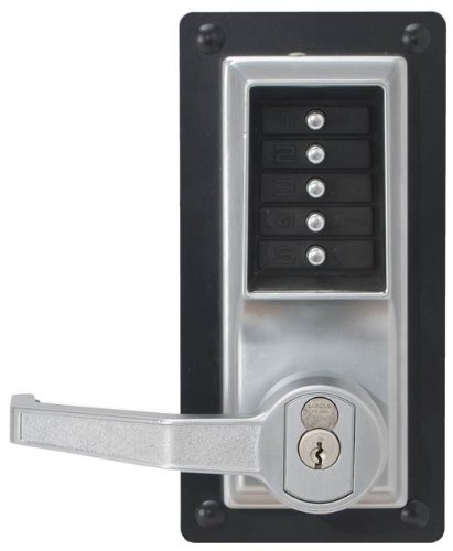 Kaba Simplex L1000 Series Metal Mechanical Pushbutton Cylindrical Lock with Lever, Key Override, 13mm Throw Latch, Floating Face Plate, 70mm Backset, I/C Best and Equivalents (6 or 7 Pin Length), Core Not Included, Satin Chrome Finish, Right Hand by Simplex