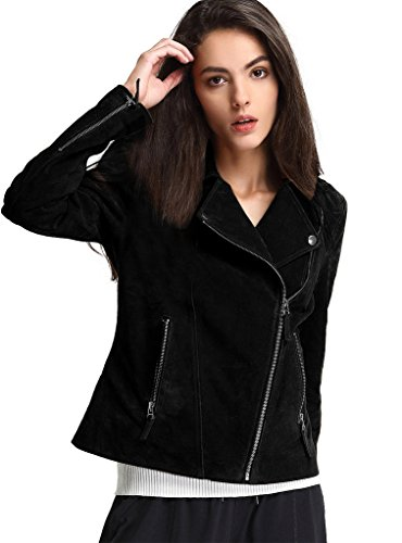 Black Leather Jacket Suede Coat (Escalier Womens Genuine Leather Jacket Moto Biker Coat, Black, Medium)