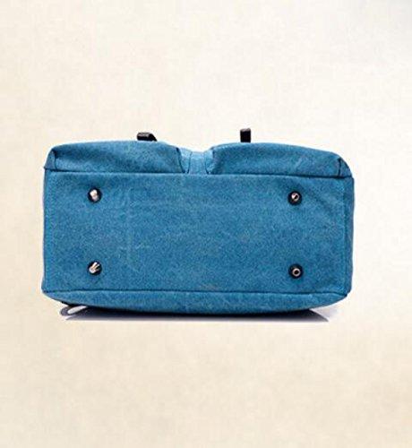 Bolso Diagonal Del Bolso Del Paquete Del Hombro Salvaje De La Manera Del Bolso De La Lona Retro Blue