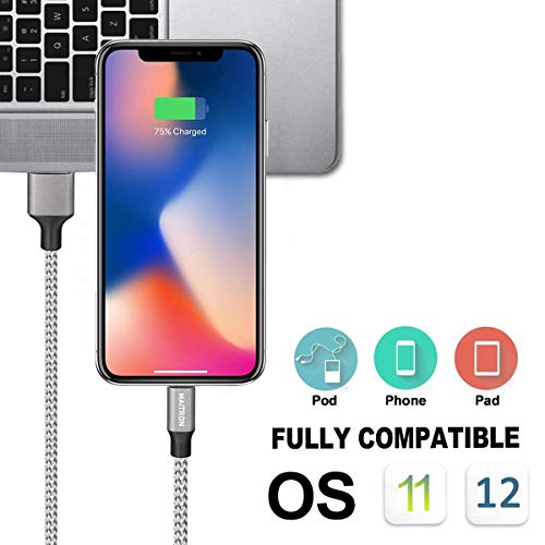 Maitron Phone Charger,3PACK (6FT) Nylon Braided Charging Cable Cord USB Cable Charger Compatible Phone X 8 8 Plus 7 7Plus 6s 6sPlus 6 6Plus 5 5s 5c SE Pad Pod and More (White) by Maitron (Image #4)