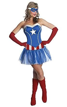 Secret Wishes Women's Marvel Universe American Dream Costume Tutu Dress and Mask, Multicolor, X-Small