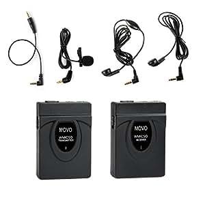 Movo WMIC50 2.4GHz Sistema Inalámbrico Micrófono de Solapa Corbata con Antena Rango 164 pies Integrada (Incluye Transmisor con el clip para el cinturón, Receptor con Zapata de la Cámara, Solapa y 2 Auriculares)