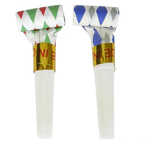 Bulk Party Pack of 144 Musical Blowouts, Assorted Colors, Birthday Party Favors, New Years Party Noisemakers 1 Gross Party Blow Outs Whistles, Party Accessory, Party Blowouts