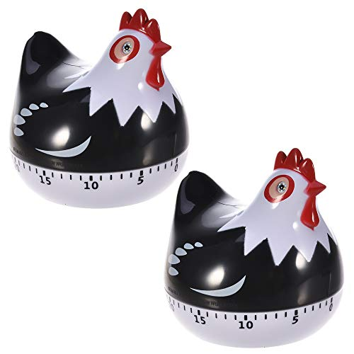 Timer, 2 Pack Kitchen Timer Manual Mechanical Food Cooking Timers Cute Chicken Shape Egg Timer Great Gift for Kids Children Black