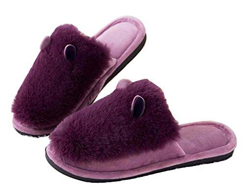 [viola] Donne Pantofole Morbide Pantofole Invernali Pantofole Sfilacciate Pantofole Interne